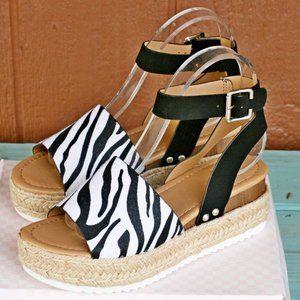 SODA Topic Zebra Print Sandals Espadrille NEW!